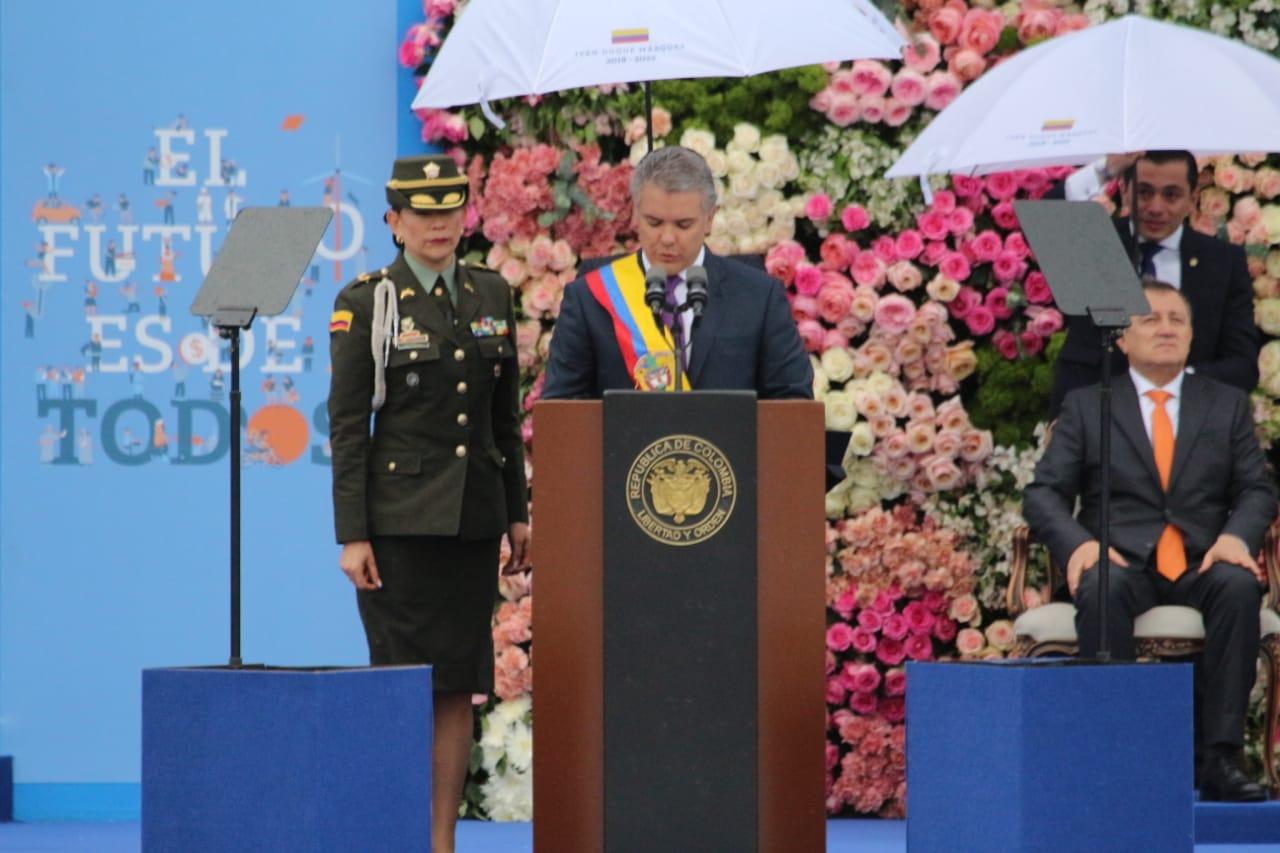 El presidente Iván Duque haciendo su presentación en la ceremonia de transmisión de mando.