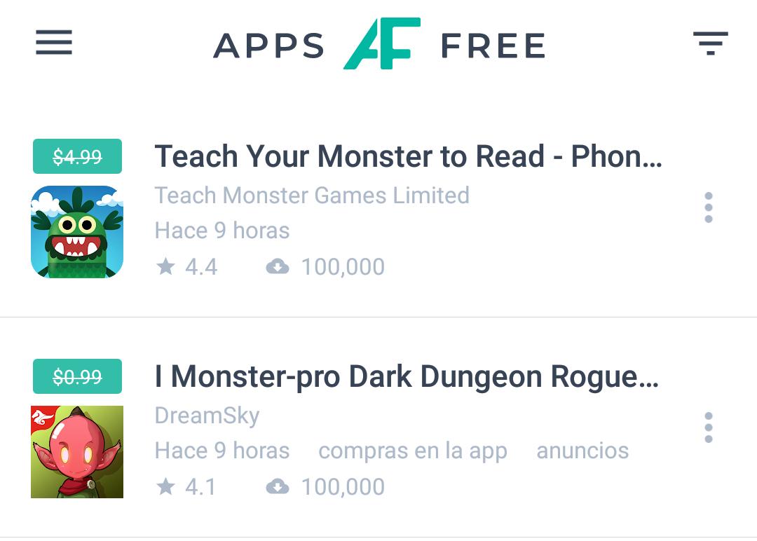 Captura de AppsFree. Aplicación para conocer promociones de Google Play.