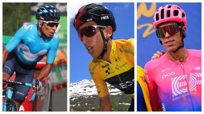 Tres colombianos en el podio ciclístico a nivel mundial