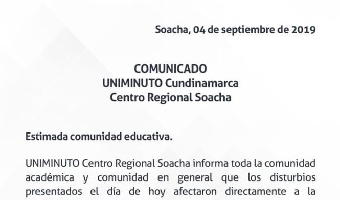 UNIMINUTO Soacha rechaza las vías de hecho y apoya a sus estudiantes afectados
