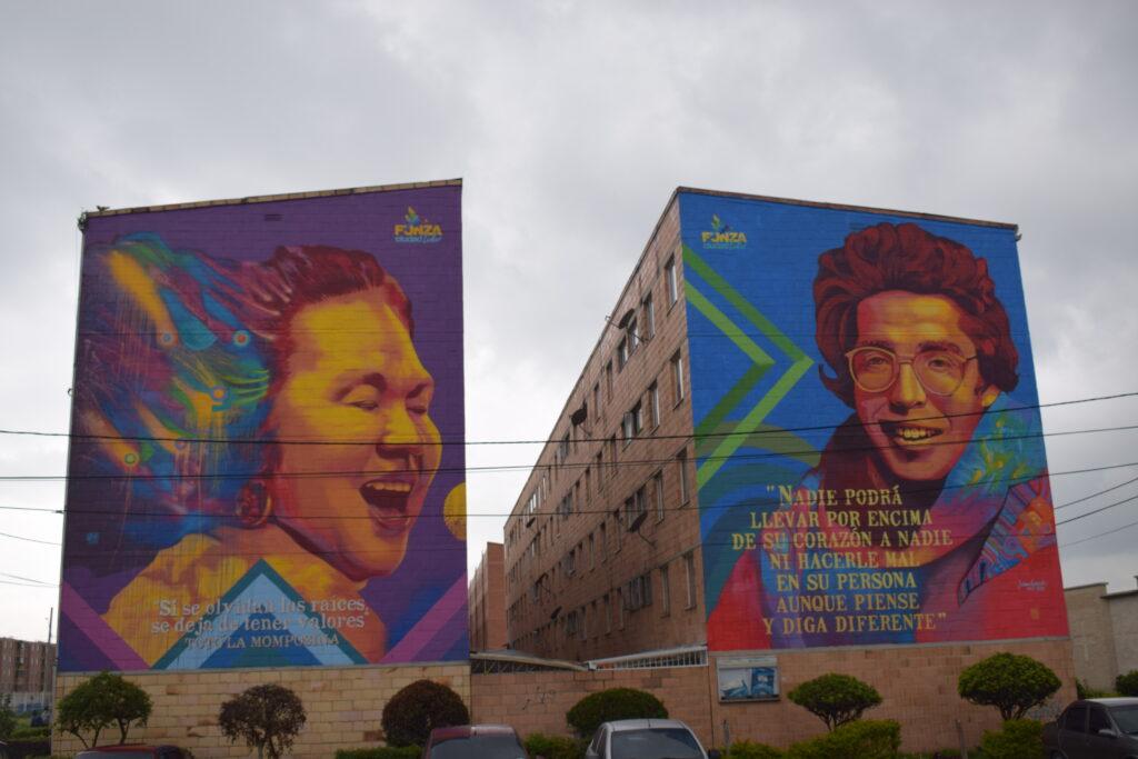 A través del arte se busca plasmar mensajes que contribuyan a la cultura ciudadana en Funza, como se evidencia en estas pinturas, en el sector de Las Mangas, obras del artista Guacheart. Foto: Lorena Salazar Barbosa